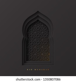 Eid Mubarak greeting background. 3d paper cut arabic window decorated pattern in traditional islamic style. Design for greeting card, banner or poster. Vector illustration.