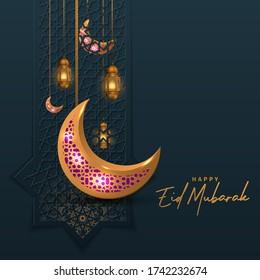Eid Mubarak greeting banner with golden lantern and moon background islamic pattern vector illustration