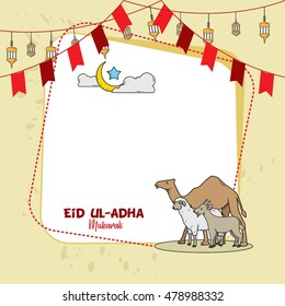Eid mubarak greeting card hand drawn sketch, Eid ul-Adha doodles. Great for card, banner and poster