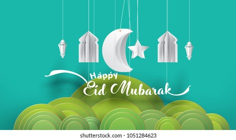 Eid Mubarak greeting Card Illustration, ramadan kareem cartoon vector Wishing for Islamic festival for banner, poster, background, flyer,illustration, brochure and sale background
