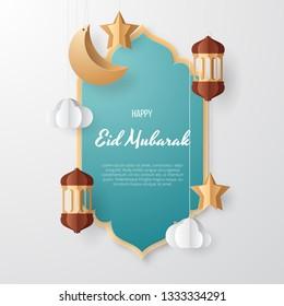 Eid Mubarak greeting Card Illustration, Ramadan kareem background illustration with arabic lanterns, mosque, moon, star, and clouds. Paper cut. Vector illustration.