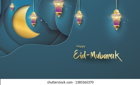 Eid Mubarak greeting Card Illustration, ramadan kareem, Wishing for Islamic festival for banner, background, flyer, illustration, brochure and sale background in paper art style - Vector