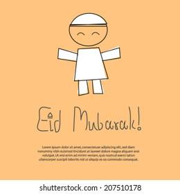 Eid Mubarak Greeting Card with Muslim boy sketch vector.