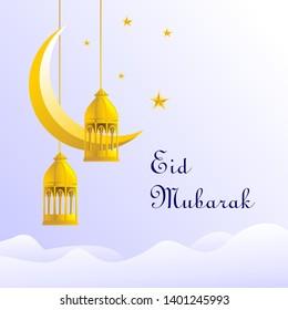 Eid Mubarak Greeting Card Traditional Gold Lantern and Crescent Moon Illustration