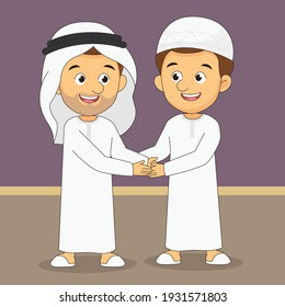 Eid mubarak greeting card two arabian man handshake to forgive each other