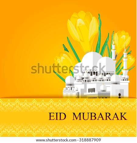 Eid mubarak greeting cards muslim background stock vector royalty eid mubarak greeting cards muslim background mosque and flower vector illustration m4hsunfo