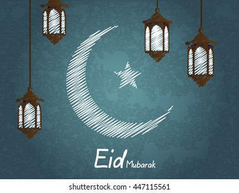 Eid Mubarak greeting on abstract background with abstract moon and beautiful illuminated lamp vector eps10.