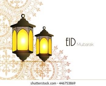Eid Mubarak greeting on flora  background with white background beautiful illuminated  lamp vector design eps10