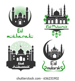 Eid Mubarak greetings for Arabic religious celebration. Vector icons set of mosque in crescent moon and twinkling star. Calligraphy text for Islamic or Muslim traditional Blessed Eid Mubarak.