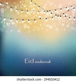 Eid mubarak greetings background. Blue night background with shiny lights. Vector illlustration