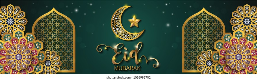 Eid mubarak greetings background Islamic with gold patterned and crystals on paper color background.