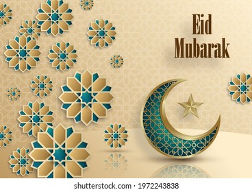 Eid Mubarak greetings on Islamic background with gold pattern on color background (transaltion : Eid Mubarak) - Shutterstock ID 1972243838