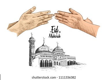 Eid Mubarak hand drawing sketch of colored hand forgive concept and mosque white background. Vector illustration for ramadan poster, flyer, greeting card, banner and template