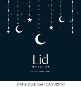 eid mubarak hanging moon and stars greeting