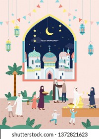 Eid mubarak holiday poster, people having iftar together in flat design