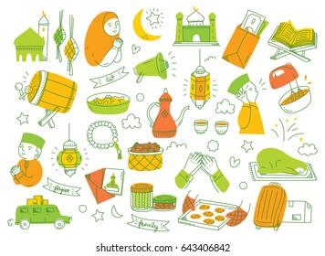 Eid mubarak or idul fitri design element in doodle style