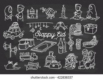 Eid mubarak or idul fitri doodle element on chalkboard background