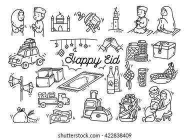 Eid mubarak or idul fitri doodle element