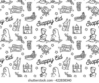Eid mubarak or idul fitri festival doodle background
