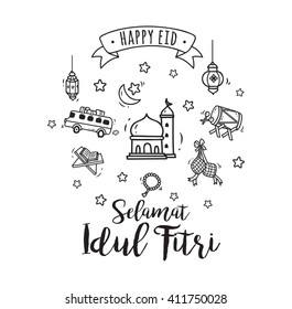 Eid mubarak or idul fitri greeting card in cute cartoon doodle style