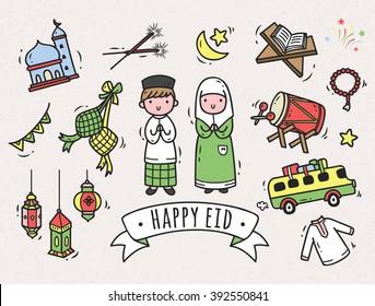 Eid mubarak or idul fitri themed cartoon doodle element