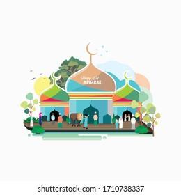 Eid Mubarak islamic flat design vector and illustration