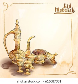 Eid Mubarak islamic greeting background with arabic traditional teapot and date fruit vector illustration