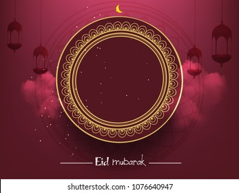 Eid Mubarak Islamic vector design greeting card template with arabic calligraphy ,beautiful illuminated arabic lamp and hand drawn calligraphy lettering for Saudi Arabia and muslim festival EID