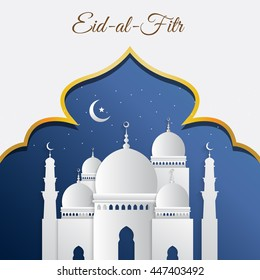 Eid Mubarak mosque with moon, star and sky blue background design. Vector illustration eps10