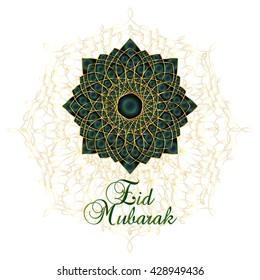 Eid Mubarak - muslim islamic holiday celebration greeting card or wallpaper with arabic floral round ornaments, arabesque mandala and calligraphy