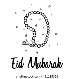Eid mubarak with muslim prayer beads and star using doodle style