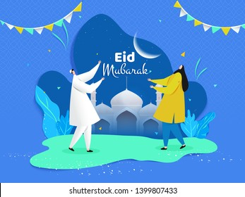 Eid Mubarak poster or banner design. Cartoon character of man and woman enjoying Eid Party.