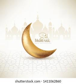 Eid Mubarak Poster or banner design. with creative abstract design for Eid Mubarak