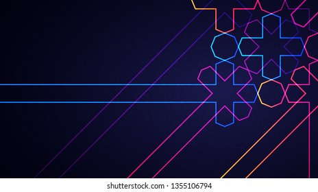 Eid Mubarak poster, banner or greeting card design. Vector illustration of abstract light background with glowing neon geometric islamic pattern for holy month of muslim community Ramadan Kareem