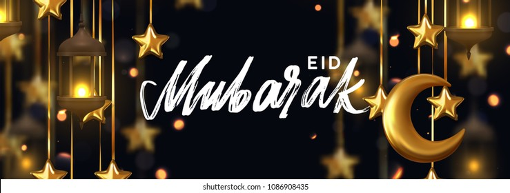 Eid Mubarak. Ramadan kareem. Background design is arabian vintage decorative hanging lamp with bokeh. Decoration light lantern, gold stars on ribbon golden crescent moon. Hand lettering white color