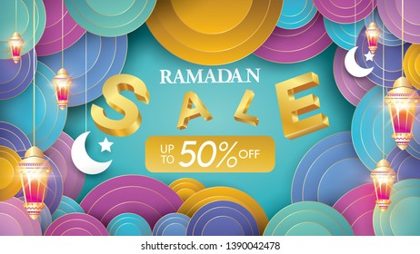 Eid Mubarak or ramadan kareem banner sale background and template. Copy space for discount tag or content promo product - Vector