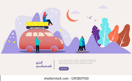 eid mubarak or ramadan kareem design illustration with tinny people character template for web landing page, banner, presentation, social, poster, ad, promotion or print media. - Vector