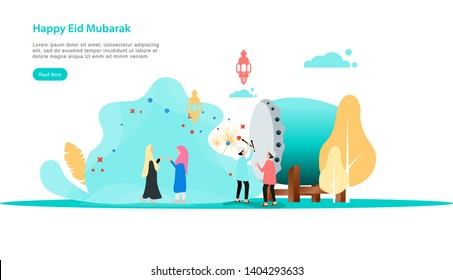 eid mubarak or ramadan kareem design illustration with people character template for web landing page, banner, presentation, social, poster, ad, promotion or print media. - Vector