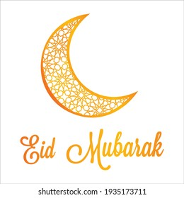 Eid Mubarak. Ramadan Kareem, the Gold moon. Islamic geometric ornament. Arabic background. Hand-drawn calligraphy. Religion Holy Month. Cover, banner. Eid Mubarak. Vector illustration. EPS 10