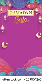 Eid Mubarak or ramadan kareem for instagram story sale banner, poster, concept, background, template. Copy space for discount tag or content promo product - Vector