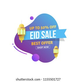 Eid Mubarak Sale design tag with 50% discount