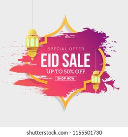 Eid Mubarak Sale design tag with 50% discount