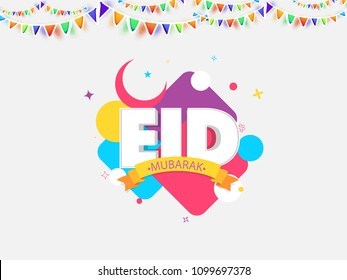 Eid Mubarak text on colorful background.