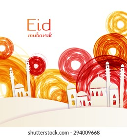 Eid Mubarak - traditional Muslim greeting. Muslim greetings background. Vector illustration.