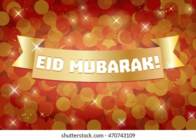 Eid Mubarak. Eid Ul-Fitr Greeting card. Muslim Community Festive Design. Red and Gold background.
