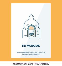 Eid Mubarak Vector Background. Greeting Card calligraphy of happy eid mubarak, Beautiful Muslim Event Background Design