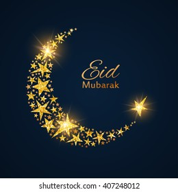 Eid Mubarak vector background with shiny stars