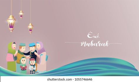 Eid Mubarak vector illustration with Family Character. Vector Illustration for greeting card, poster and banner.