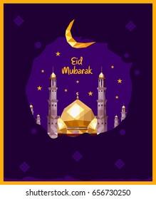 Eid mubarak vector poster design low poly mosque