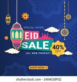 Eid sale banner with crescent moon and lantern. special offers promo for your seasonal design